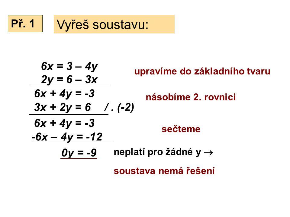 6x = 3 – 4y Vyřeš soustavu: 2y = 6 – 3x neplatí pro žádné y  Př.