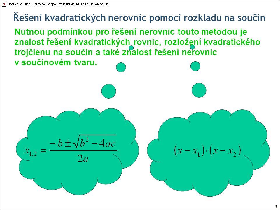 Řešení kvadratických nerovnic pomocí rozkladu na součin Nutnou podmínkou pro řešení nerovnic touto metodou je znalost řešení kvadratických rovnic, rozložení kvadratického trojčlenu na součin a také v neposlední řadě znalost řešení nerovnic v součinovém tvaru.