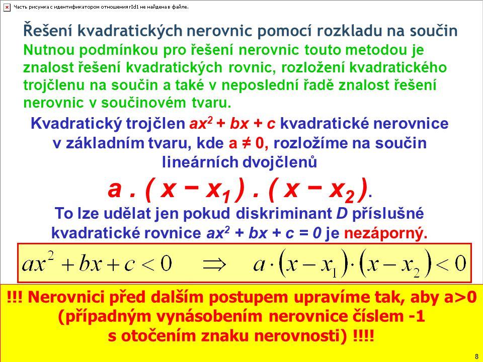Řešení kvadratických nerovnic pomocí rozkladu na součin Řešme v R nerovnici: Činitel ve tvaru kladného čísla na to, zda bude výsledný součin kladný, záporný či nulový, nemá žádný vliv, a proto jej z dalších úvah můžeme bez obav vynechat.