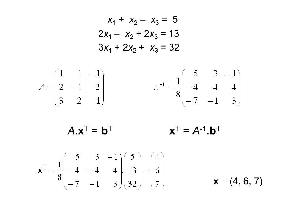 x 1 + x 2 – x 3 = 5 2x 1 – x 2 + 2x 3 = 13 3x 1 + 2x 2 + x 3 = 32 x = (4, 6, 7) A.x T = b T x T = A -1.b T