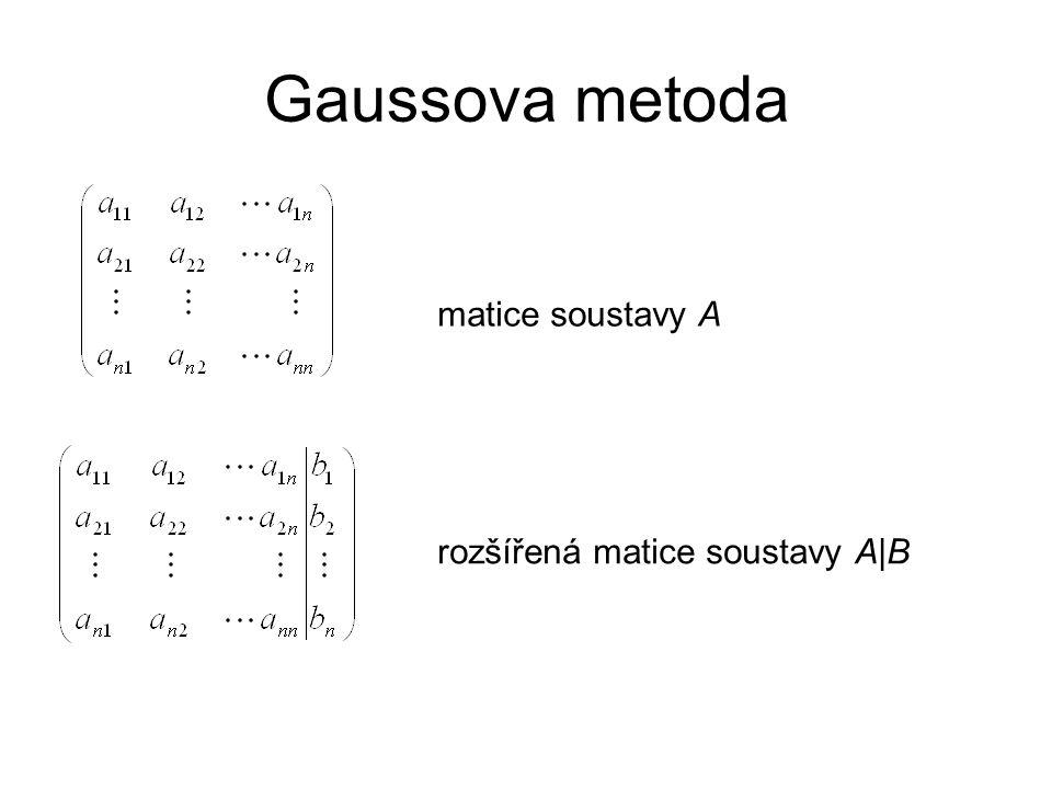Gaussova metoda matice soustavy A rozšířená matice soustavy A|B