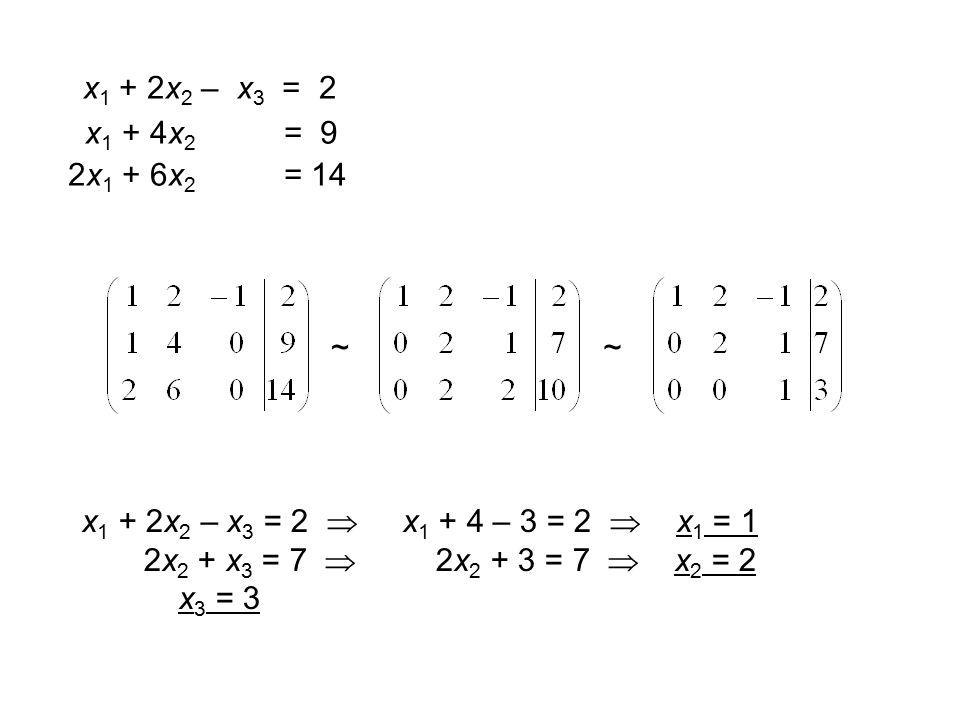 x 1 + 2x 2 – x 3 = 2 x 1 + 4x 2 = 9 2x 1 + 6x 2 = 14 ~~ x 1 + 2x 2 – x 3 = 2  x 1 + 4 – 3 = 2  x 1 = 1 2x 2 + x 3 = 7  2x 2 + 3 = 7  x 2 = 2 x 3 = 3