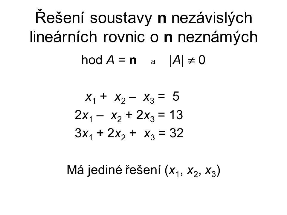 Řešení soustavy n nezávislých lineárních rovnic o n neznámých hod A = n a |A|  0 x 1 + x 2 – x 3 = 5 2x 1 – x 2 + 2x 3 = 13 3x 1 + 2x 2 + x 3 = 32 Má jediné řešení (x 1, x 2, x 3 )