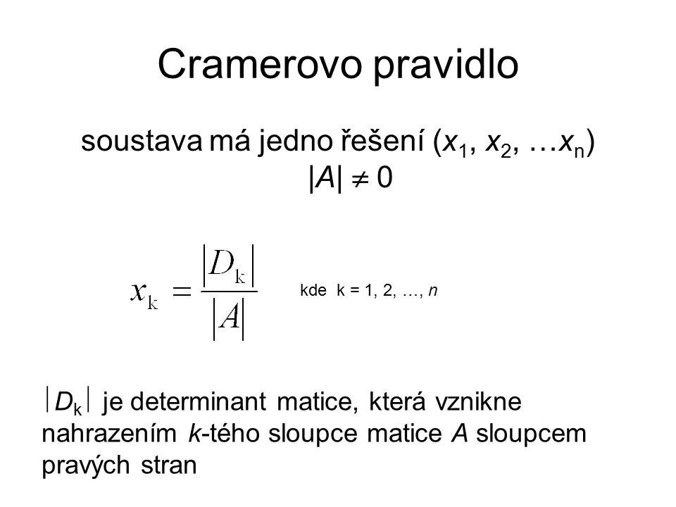 Cramerovo pravidlo soustava má jedno řešení (x 1, x 2, …x n ) |A|  0 kde k = 1, 2, …, n  D k  je determinant matice, která vznikne nahrazením k-tého sloupce matice A sloupcem pravých stran