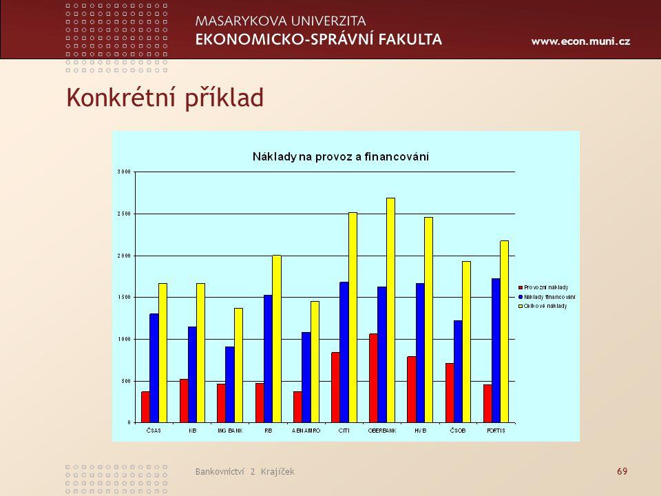 www.econ.muni.cz Bankovnictví 2 Krajíček69 Konkrétní příklad