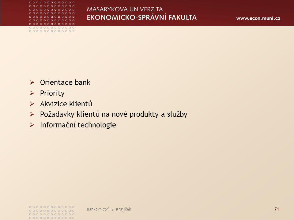www.econ.muni.cz Bankovnictví 2 Krajíček71  Orientace bank  Priority  Akvizice klientů  Požadavky klientů na nové produkty a služby  Informační t