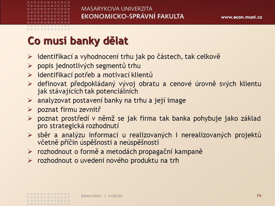 www.econ.muni.cz Bankovnictví 2 Krajíček74 Co musí banky dělat  identifikací a vyhodnocení trhu jak po částech, tak celkově  popis jednotlivých segm