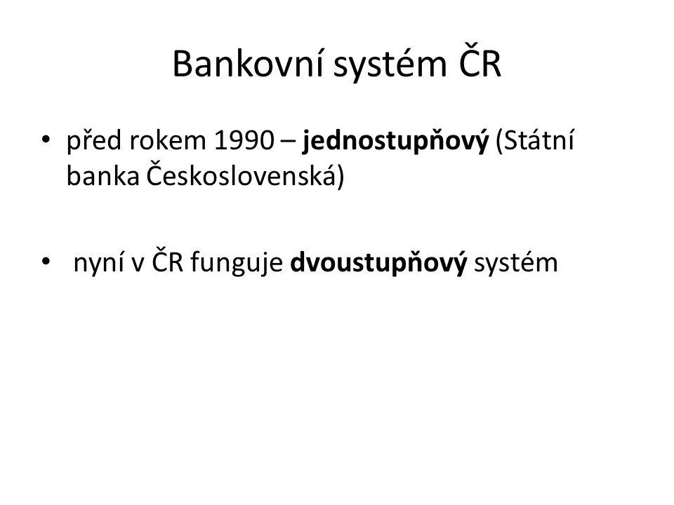 Bankovní systém ČR před rokem 1990 – jednostupňový (Státní banka Československá) nyní v ČR funguje dvoustupňový systém