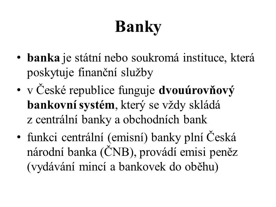 Banky banka je státní nebo soukromá instituce, která poskytuje finanční služby v České republice funguje dvouúrovňový bankovní systém, který se vždy s