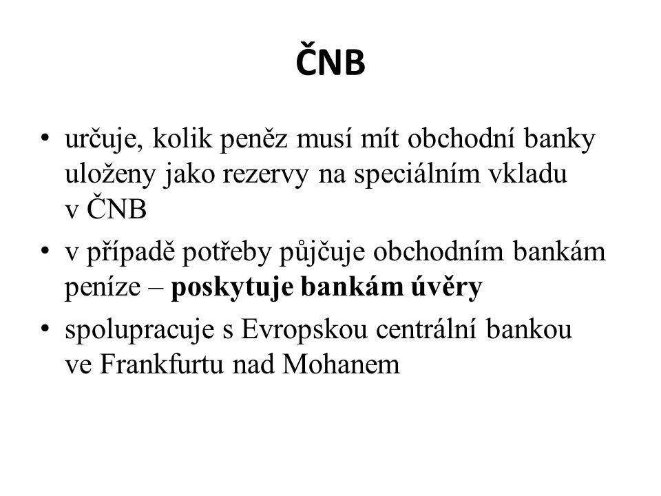 ČNB určuje, kolik peněz musí mít obchodní banky uloženy jako rezervy na speciálním vkladu v ČNB v případě potřeby půjčuje obchodním bankám peníze – po