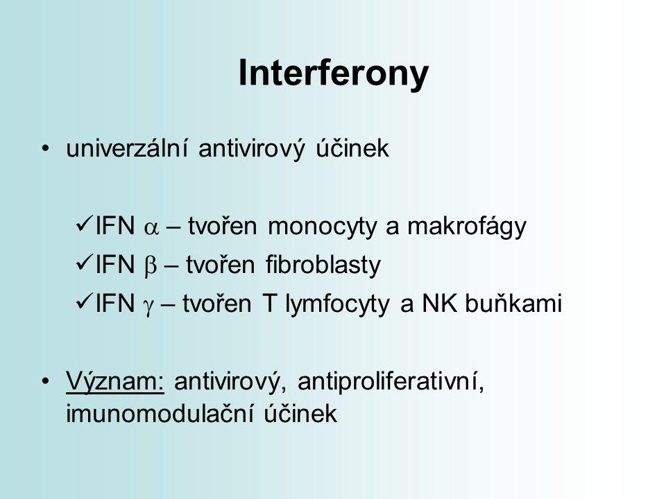 Interferony univerzální antivirový účinek IFN  – tvořen monocyty a makrofágy IFN  – tvořen fibroblasty IFN  – tvořen T lymfocyty a NK buňkami Vý