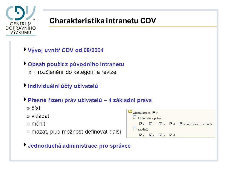 Charakteristika intranetu CDV  Vývoj uvnitř CDV od 08/2004  Obsah použit z původního intranetu » + rozčlenění do kategorií a revize  Individuální účty uživatelů  Přesné řízení práv uživatelů – 4 základní práva » číst » vkládat » měnit » mazat, plus možnost definovat další  Jednoduchá administrace pro správce