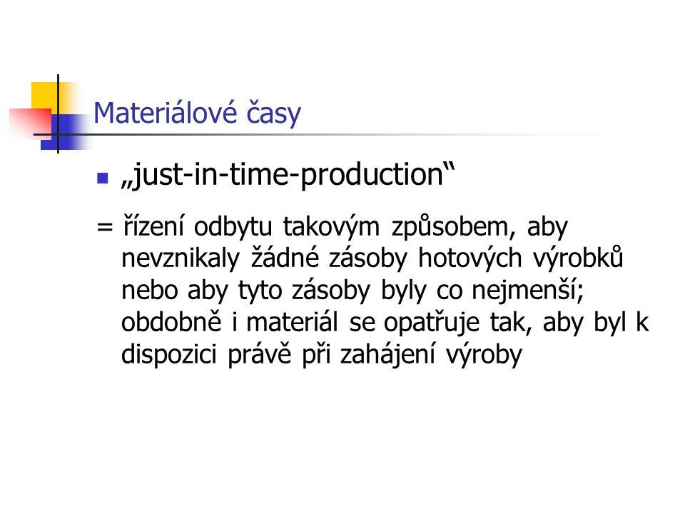 """Materiálové časy """"just-in-time-production = řízení odbytu takovým způsobem, aby nevznikaly žádné zásoby hotových výrobků nebo aby tyto zásoby byly co nejmenší; obdobně i materiál se opatřuje tak, aby byl k dispozici právě při zahájení výroby"""