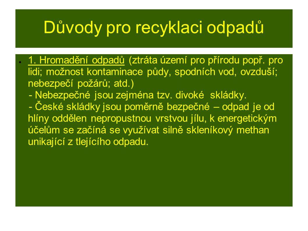 Důvody pro recyklaci odpadů ● 1. Hromadění odpadů (ztráta území pro přírodu popř.