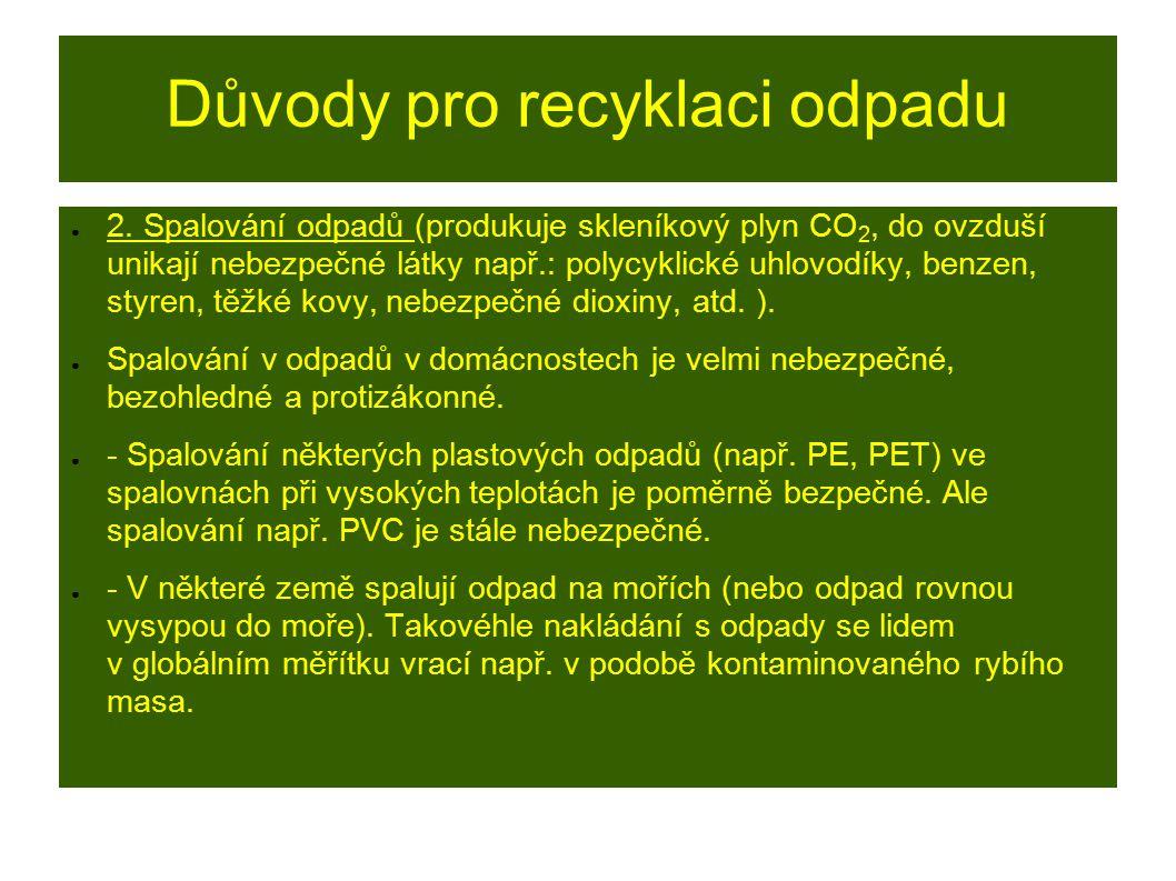 Důvody pro recyklaci odpadu ● 2.