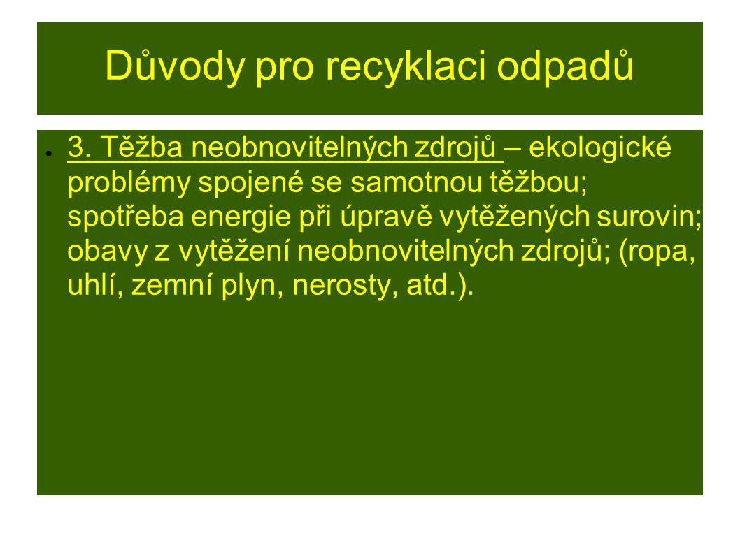 Důvody pro recyklaci odpadů ● 3.