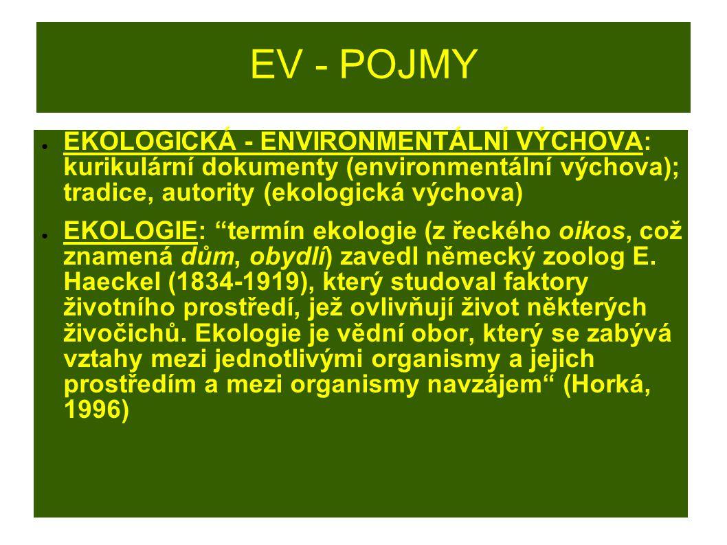"""EV - POJMY ● Environmentalistika: (nauka o životním prostředí) """"využívá poznatků vědního oboru ekologie, zkoumá mechanismy působení člověka na ekosystémy, zabývá se prevencí znečišťování životního prostředí, nápravou vzniklých škod a prevencí nežádoucích zásahů; environmentalistika zahrnuje např."""