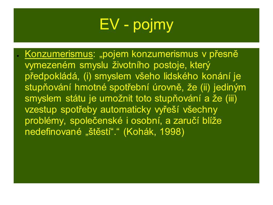 """EV - pojmy ● Konzumerismus: """"pojem konzumerismus v přesně vymezeném smyslu životního postoje, který předpokládá, (i) smyslem všeho lidského konání je stupňování hmotné spotřební úrovně, že (ii) jediným smyslem státu je umožnit toto stupňování a že (iii) vzestup spotřeby automaticky vyřeší všechny problémy, společenské i osobní, a zaručí blíže nedefinované """"štěstí . (Kohák, 1998)"""