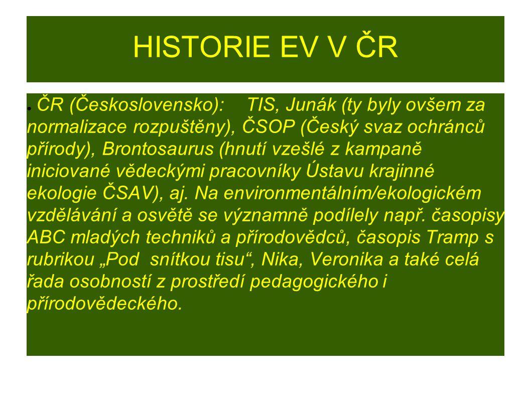 HISTORIE EV V ČR ● Do doby, než se začal aplikovat RVP VZ, byl výchozím dokumentem pro EV pro základní vzdělávání Metodický pokyn k environmentálnímu vzdělávání, výchově a osvětě ve školách a školských zařízeních (MŠMT ČR č.