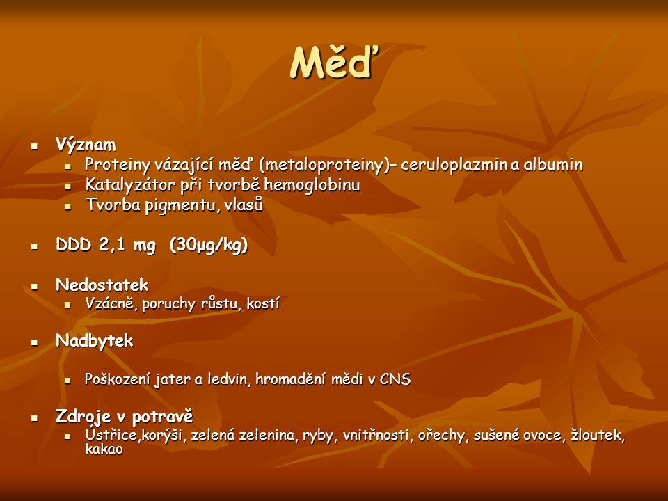 Měď Význam Význam Proteiny vázající měď (metaloproteiny)– ceruloplazmin a albumin Proteiny vázající měď (metaloproteiny)– ceruloplazmin a albumin Kata