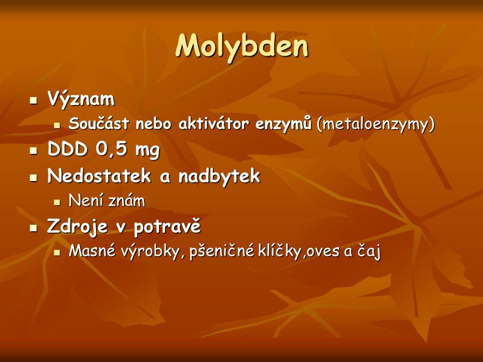 Molybden Význam Význam Součást nebo aktivátor enzymů (metaloenzymy) Součást nebo aktivátor enzymů (metaloenzymy) DDD 0,5 mg DDD 0,5 mg Nedostatek a na