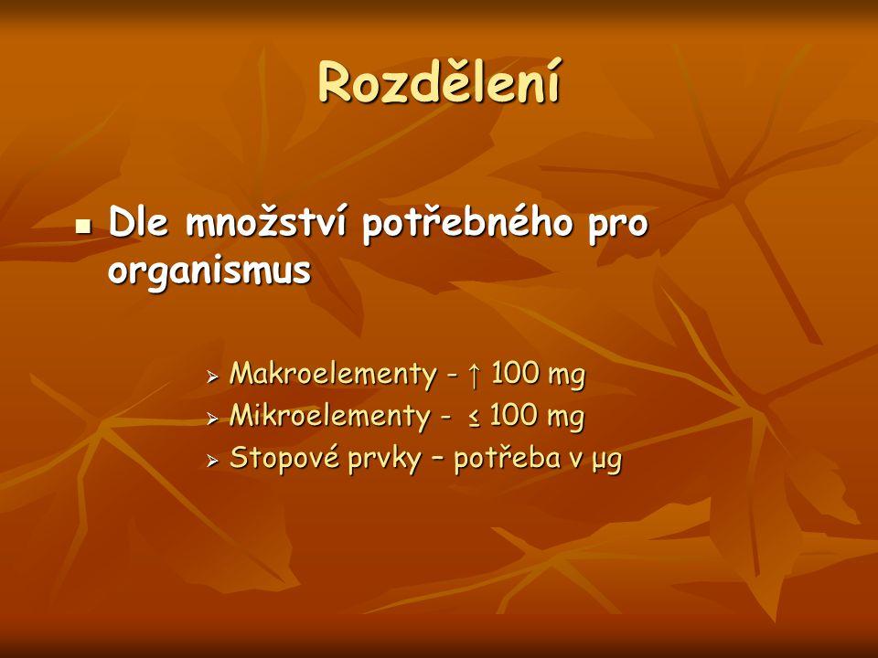 Rozdělení Dle množství potřebného pro organismus Dle množství potřebného pro organismus  Makroelementy - ↑ 100 mg  Mikroelementy - ≤ 100 mg  Stopov
