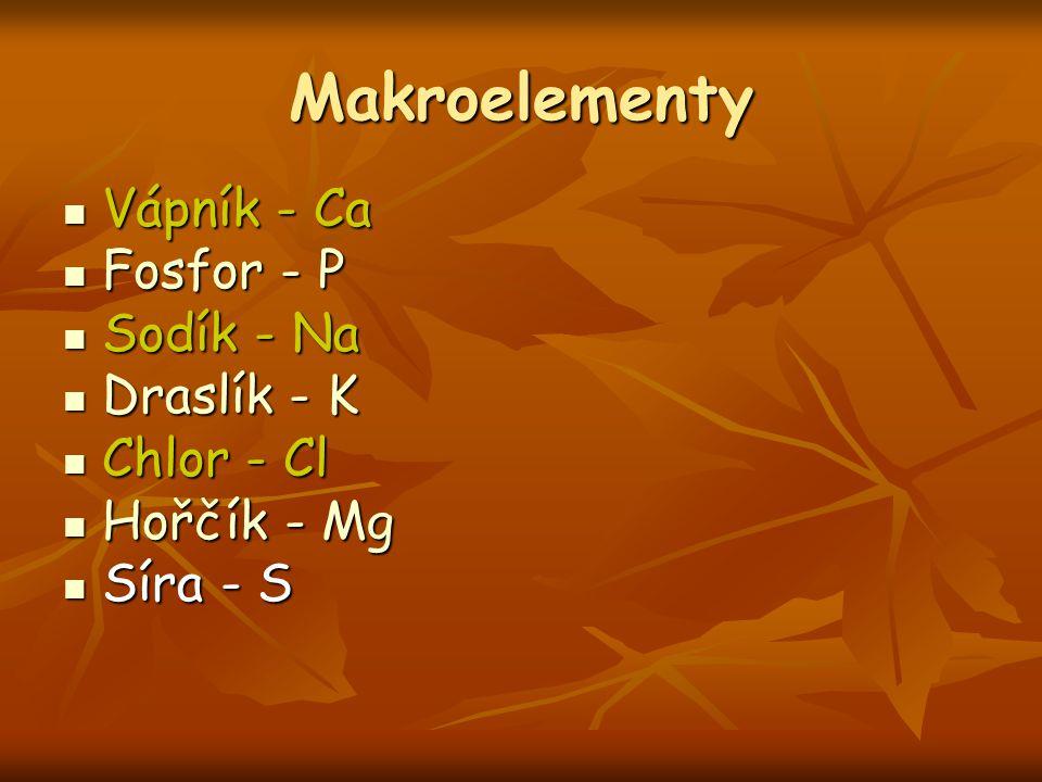 Makroelementy Vápník - Ca Vápník - Ca Fosfor - P Fosfor - P Sodík - Na Sodík - Na Draslík - K Draslík - K Chlor - Cl Chlor - Cl Hořčík - Mg Hořčík - M