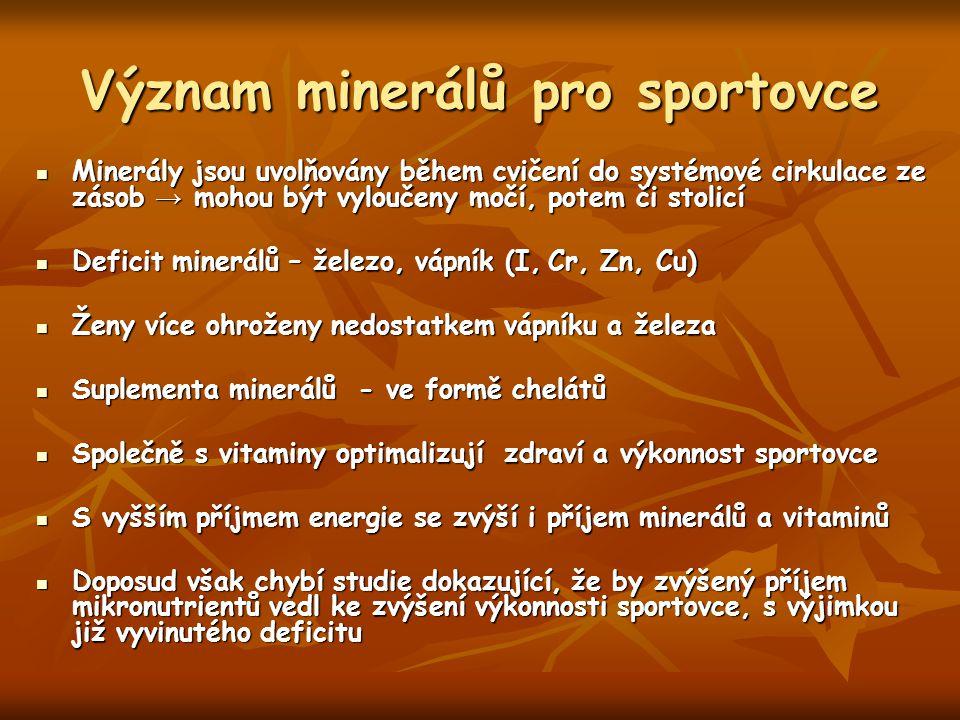 Význam minerálů pro sportovce Minerály jsou uvolňovány během cvičení do systémové cirkulace ze zásob → mohou být vyloučeny močí, potem či stolicí Mine
