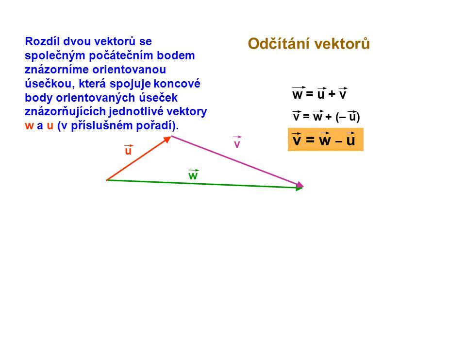 u Odčítání vektorů w w = u + v v = w + (– u) v v = w – u Rozdíl dvou vektorů se společným počátečním bodem znázorníme orientovanou úsečkou, která spoj