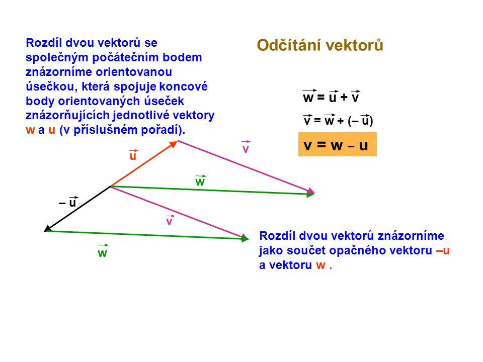 u Odčítání vektorů v w – u w = u + v v = w + (– u) v w v = w – u Rozdíl dvou vektorů se společným počátečním bodem znázorníme orientovanou úsečkou, kt