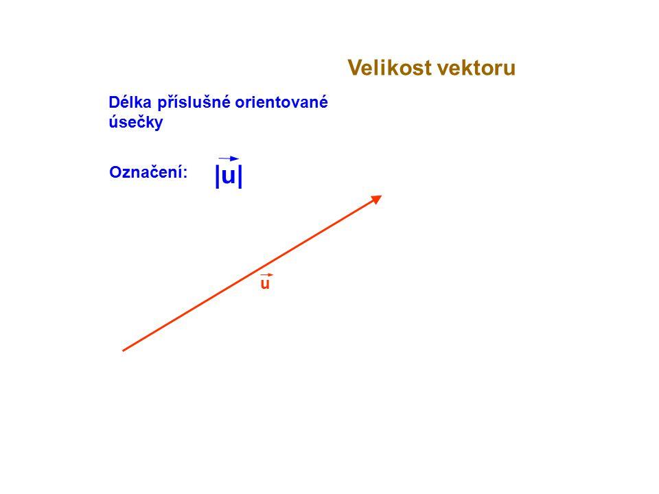 u Délka příslušné orientované úsečky Označení: |u||u|