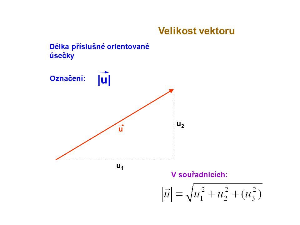 u Velikost vektoru V souřadnicích: u1u1 u2u2 Délka příslušné orientované úsečky Označení: |u||u|