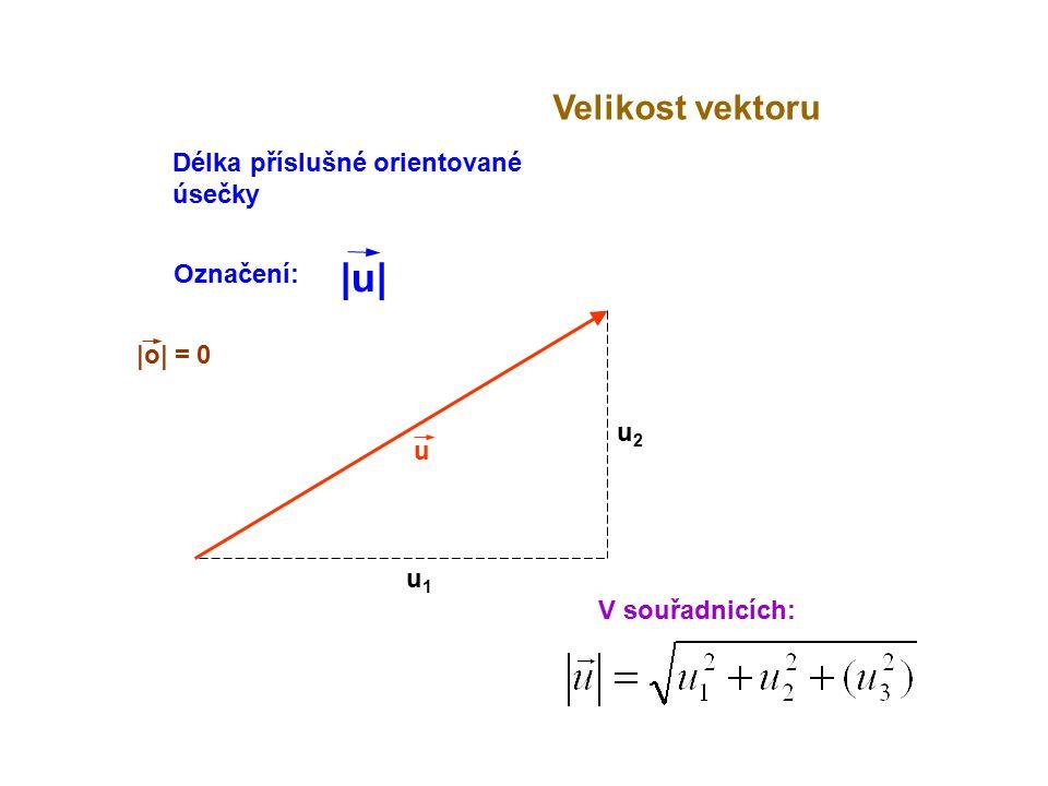 |o| = 0 u Velikost vektoru V souřadnicích: u1u1 u2u2 Délka příslušné orientované úsečky Označení: |u||u|