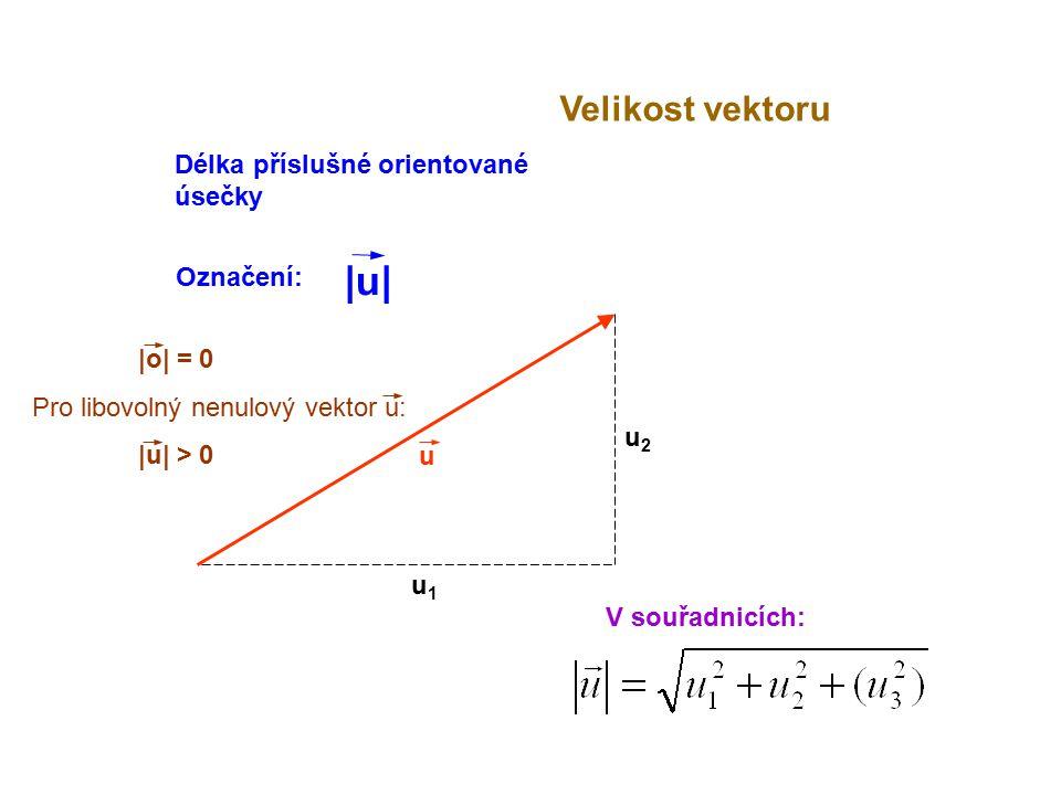 |o| = 0 Pro libovolný nenulový vektor u: |u| > 0 u Velikost vektoru V souřadnicích: u1u1 u2u2 Délka příslušné orientované úsečky Označení: |u||u|