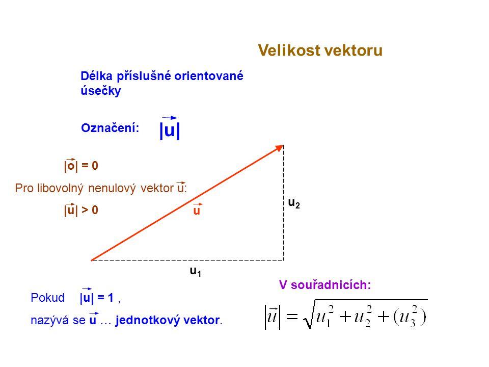 |o| = 0 Pro libovolný nenulový vektor u: |u| > 0 u Velikost vektoru V souřadnicích: u1u1 u2u2 Délka příslušné orientované úsečky Označení: |u||u| Poku
