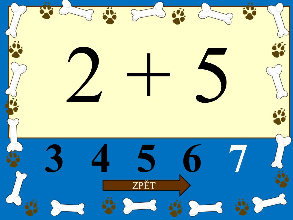 5 – 2 34567 ZPĚT 3