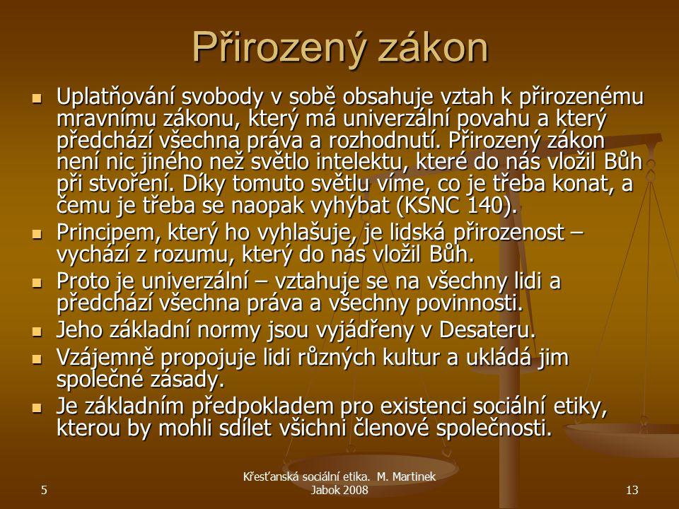 5 Křesťanská sociální etika. M. Martinek Jabok 200813 Přirozený zákon Uplatňování svobody v sobě obsahuje vztah k přirozenému mravnímu zákonu, který m