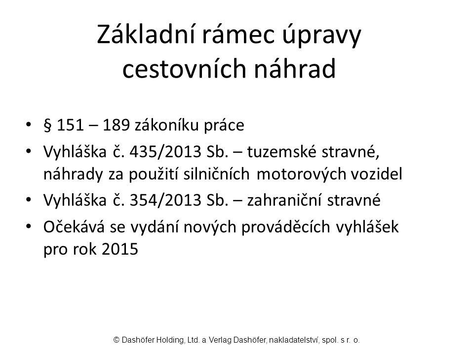 Základní rámec úpravy cestovních náhrad § 151 – 189 zákoníku práce Vyhláška č.