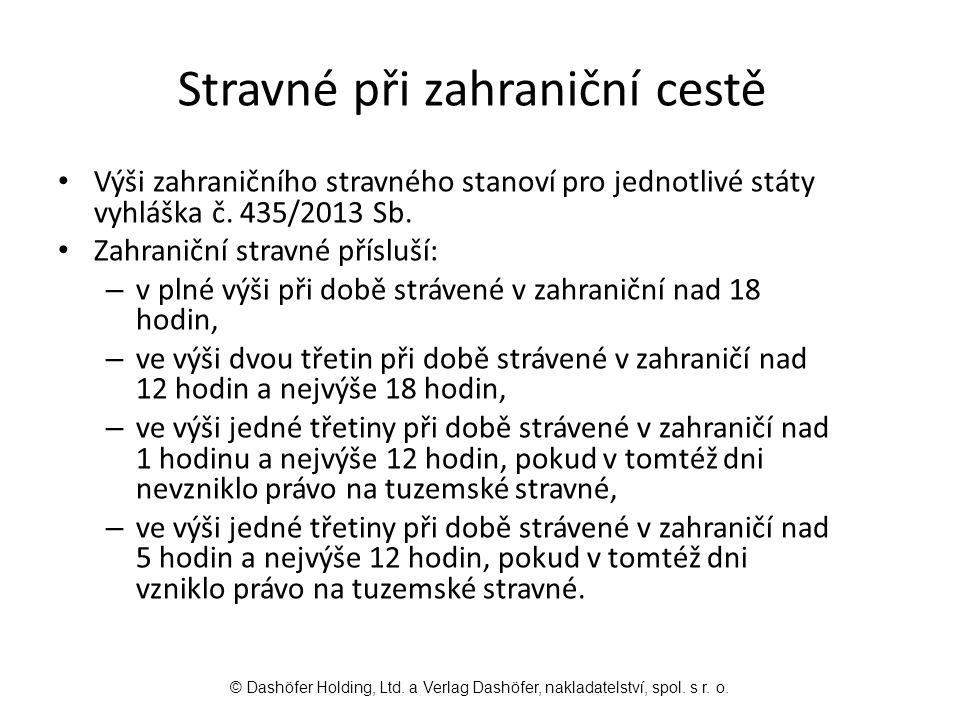 Výši zahraničního stravného stanoví pro jednotlivé státy vyhláška č.
