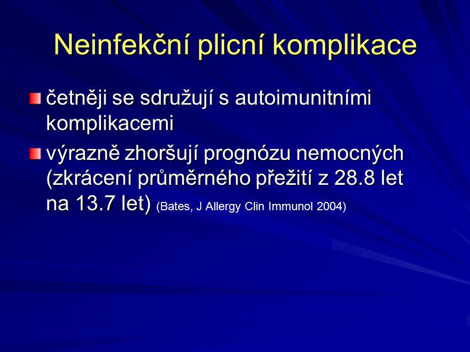 Neinfekční plicní komplikace četněji se sdružují s autoimunitními komplikacemi výrazně zhoršují prognózu nemocných (zkrácení průměrného přežití z 28.8 let na 13.7 let) výrazně zhoršují prognózu nemocných (zkrácení průměrného přežití z 28.8 let na 13.7 let) (Bates, J Allergy Clin Immunol 2004)