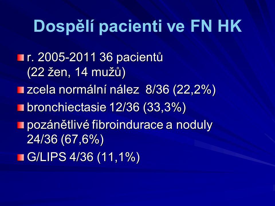 Dospělí pacienti ve FN HK r. 2005-2011 36 pacientů (22 žen, 14 mužů) zcela normální nález 8/36 (22,2%) bronchiectasie 12/36 (33,3%) pozánětlivé fibroi