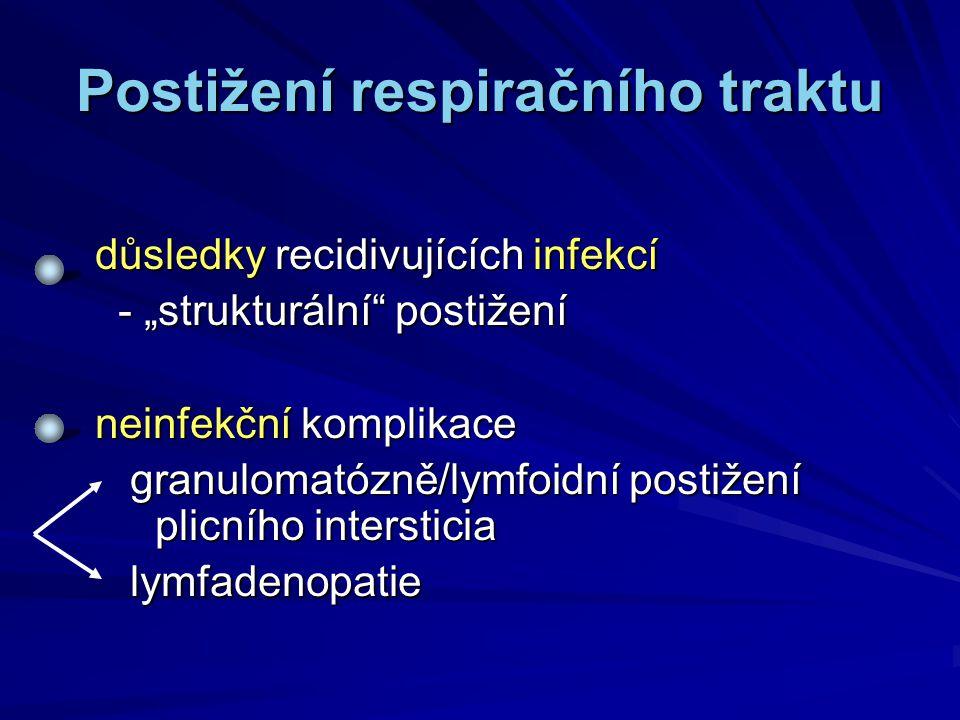 """Postižení respiračního traktu důsledky recidivujících infekcí - """"strukturální"""" postižení - """"strukturální"""" postižení neinfekční komplikace granulomatóz"""
