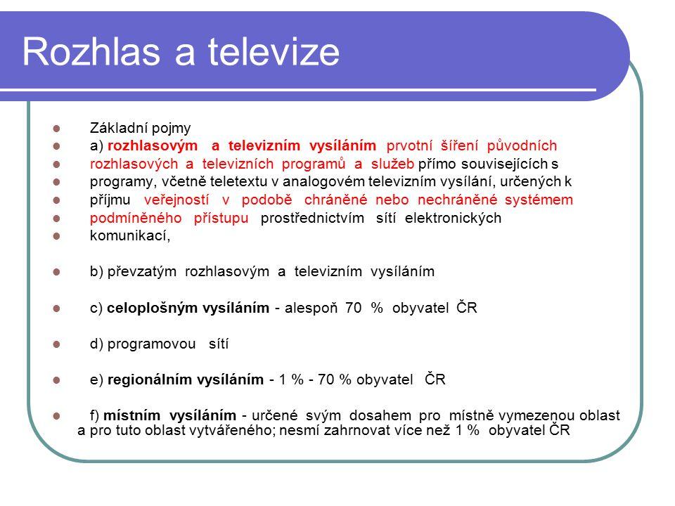 25 Rozhlas a televize Základní pojmy a) rozhlasovým a televizním vysíláním prvotní šíření původních rozhlasových a televizních programů a služeb přímo
