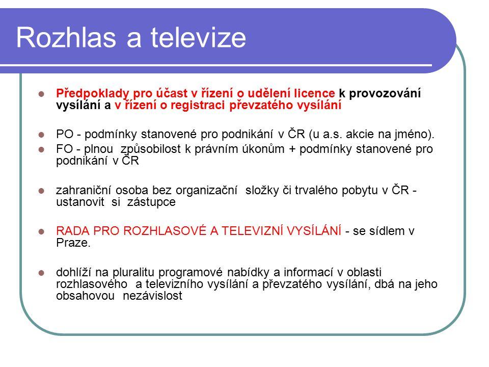 30 Rozhlas a televize Předpoklady pro účast v řízení o udělení licence k provozování vysílání a v řízení o registraci převzatého vysílání PO - podmínk