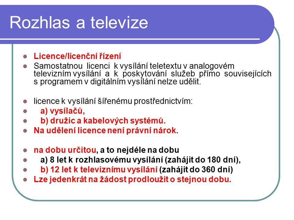 34 Rozhlas a televize Licence/licenční řízení Samostatnou licenci k vysílání teletextu v analogovém televizním vysílání a k poskytování služeb přímo s