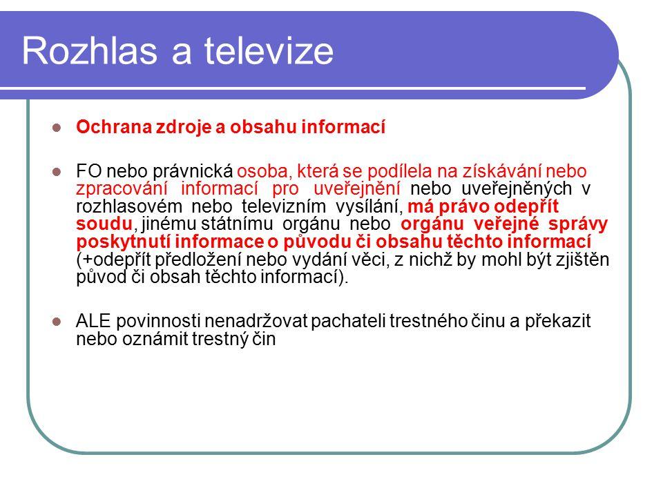 47 Rozhlas a televize Ochrana zdroje a obsahu informací FO nebo právnická osoba, která se podílela na získávání nebo zpracování informací pro uveřejně