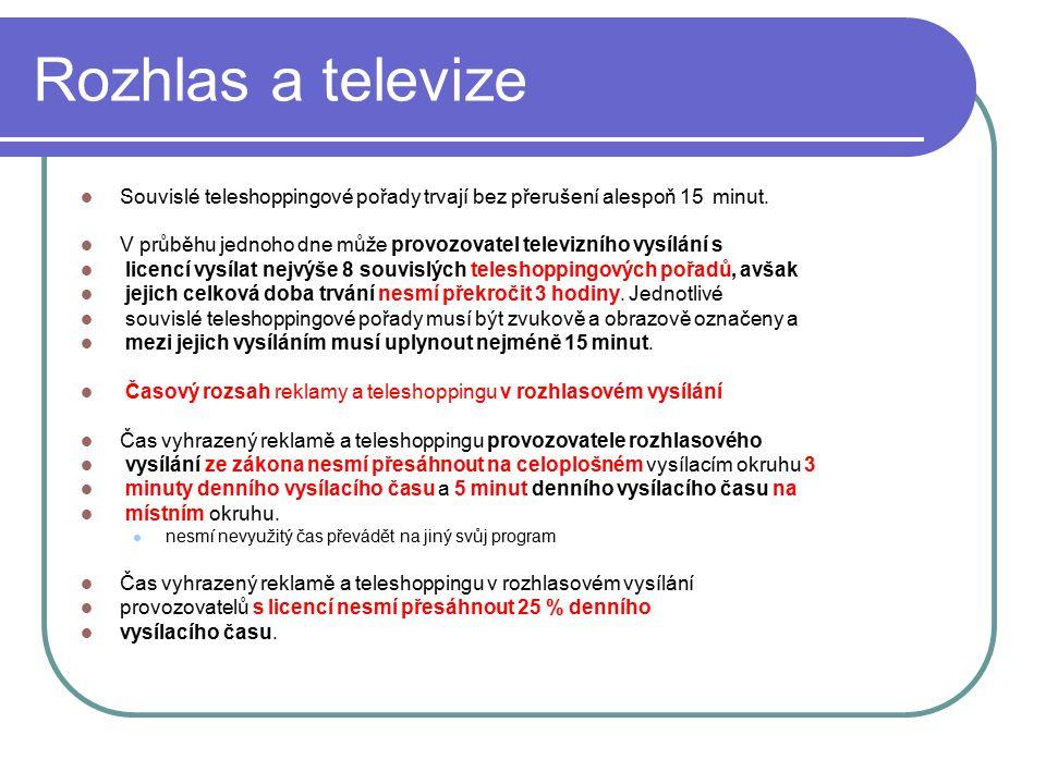 56 Rozhlas a televize Souvislé teleshoppingové pořady trvají bez přerušení alespoň 15 minut. V průběhu jednoho dne může provozovatel televizního vysíl