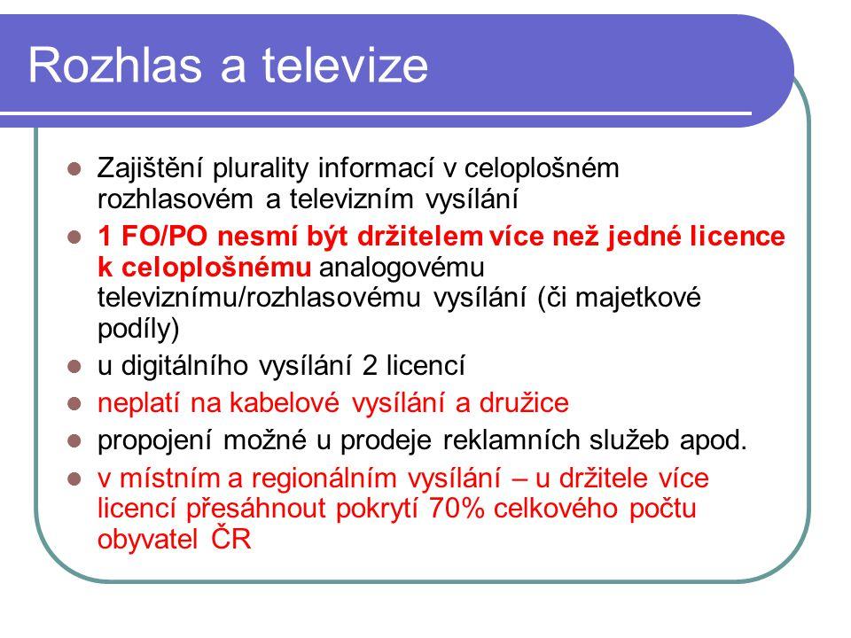 60 Rozhlas a televize Zajištění plurality informací v celoplošném rozhlasovém a televizním vysílání 1 FO/PO nesmí být držitelem více než jedné licence