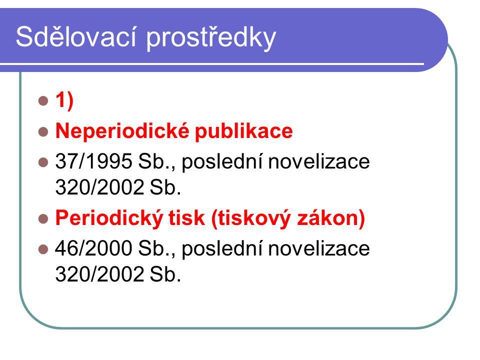 7 Sdělovací prostředky 1) Neperiodické publikace 37/1995 Sb., poslední novelizace 320/2002 Sb. Periodický tisk (tiskový zákon) 46/2000 Sb., poslední n