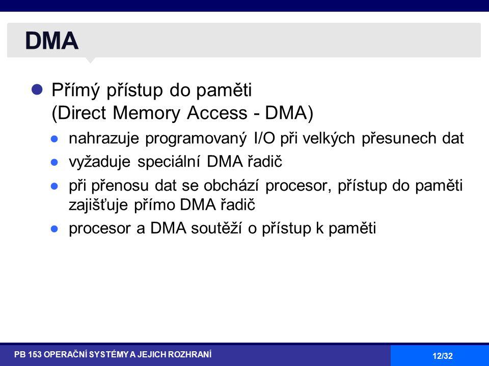12/32 Přímý přístup do paměti (Direct Memory Access - DMA) ●nahrazuje programovaný I/O při velkých přesunech dat ●vyžaduje speciální DMA řadič ●při přenosu dat se obchází procesor, přístup do paměti zajišťuje přímo DMA řadič ●procesor a DMA soutěží o přístup k paměti DMA PB 153 OPERAČNÍ SYSTÉMY A JEJICH ROZHRANÍ